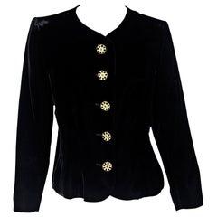 Black Vintage Yves Saint Laurent Rive Gauche Velvet Jacket