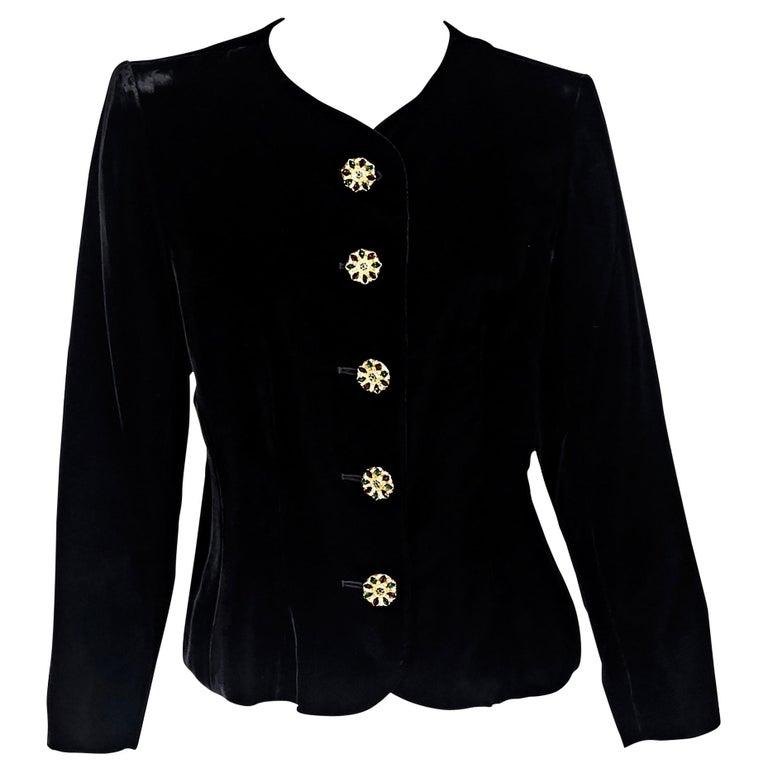 bb3eb50aa3b Black Vintage Yves Saint Laurent Rive Gauche Velvet Jacket For Sale ...
