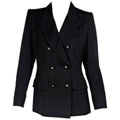 Black Vintage Yves Saint Laurent Rive Gauche Wool Blazer