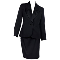 Black Vintage Yves Saint Laurent Wool Skirt Suit Set