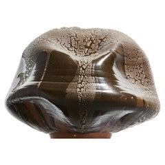 Black Wabi Sabi Ceramic Vase, Interior Sculpture, Contemporary Textured Vessel