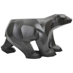 Black Walking Bear Side or End Table Contemporary Handmade Hydrostone Sculpture