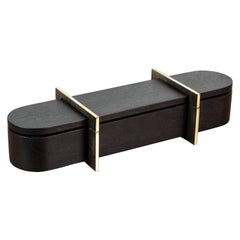 Black Walnut and Brass Lidded Box by Vincent Pocsik, in Stock
