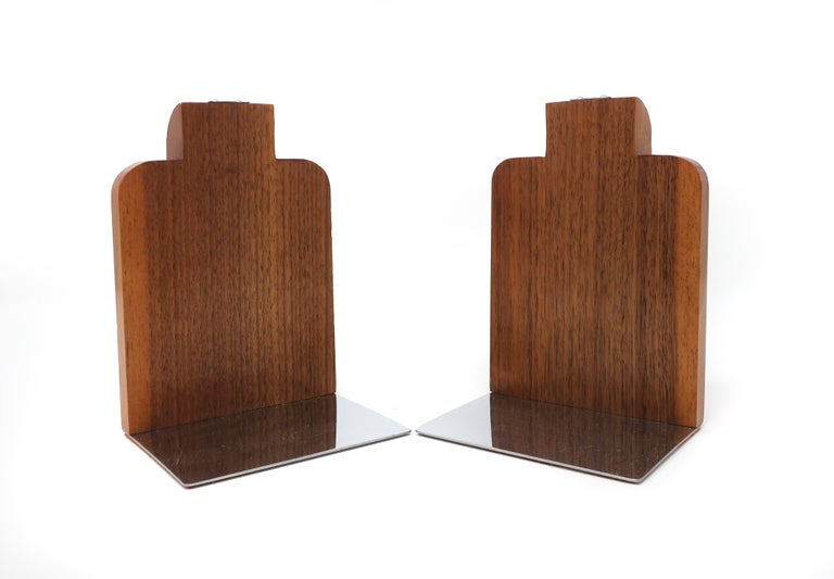 Mid-Century Modern Black Walnut and Chrome Art Deco Bookends For Sale