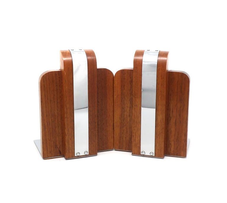 Black Walnut and Chrome Art Deco Bookends For Sale