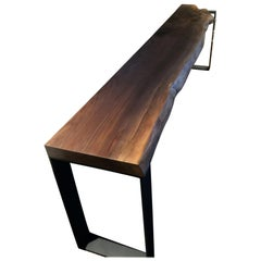 Black Walnut Console Live Edge on U-Shape Steel Legs