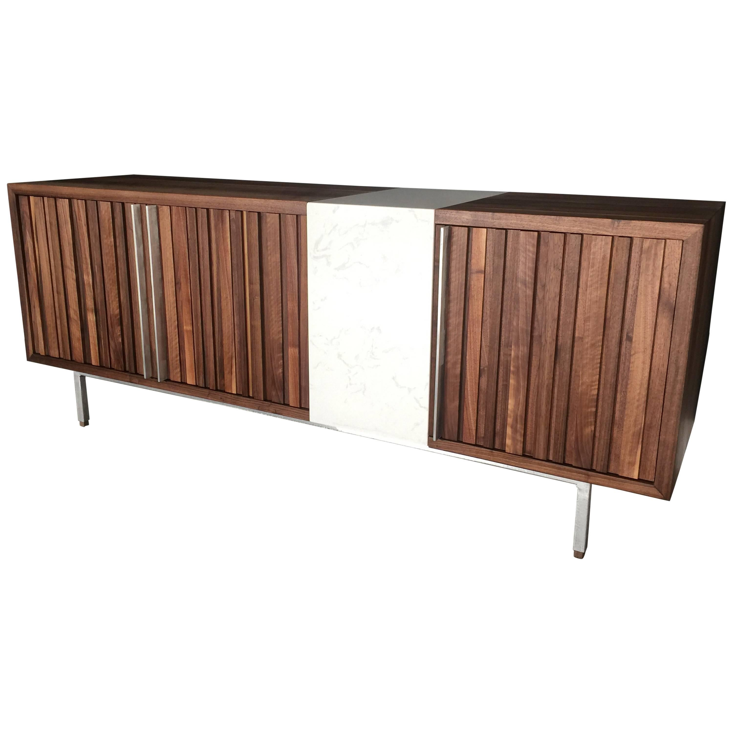 Black Walnut Credenzas on Aluminum with quartz