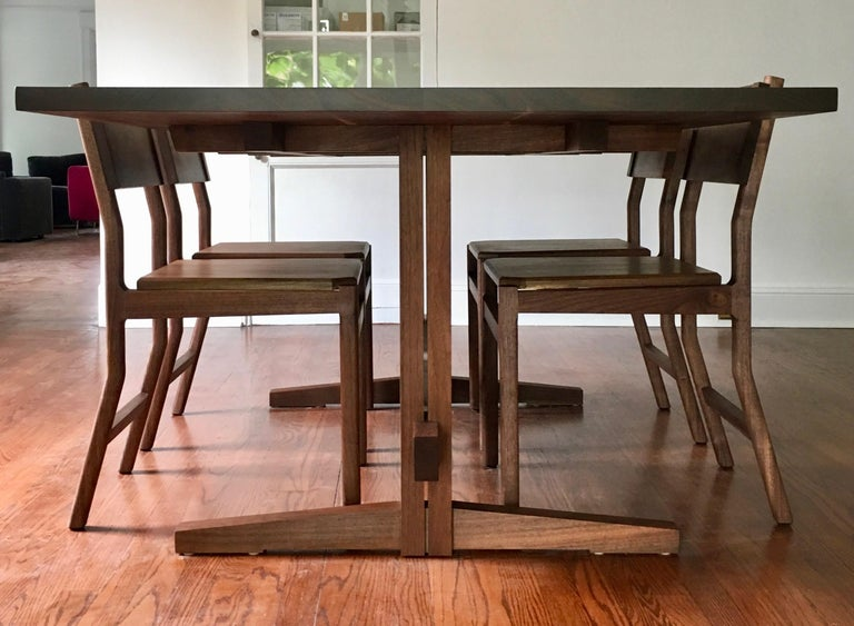 Contemporary Black Walnut Hewitt Wood Dining Chair by New York Heartwoods For Sale