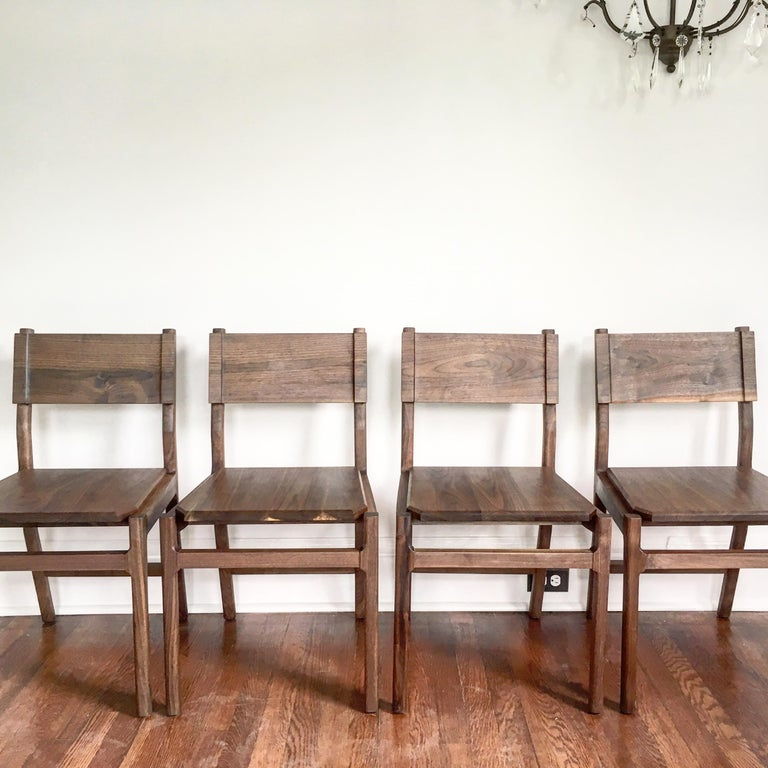 Black Walnut Hewitt Wood Dining Chair by New York Heartwoods For Sale 1