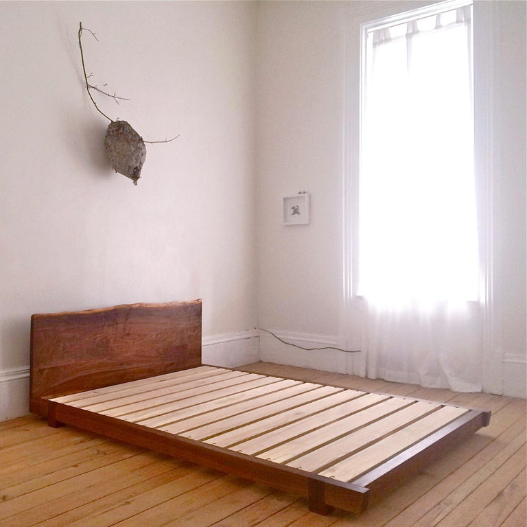 Hand-Crafted Black Walnut Perri Bed Queen-sized with Sustainable Live-edge Slab Headboard For Sale