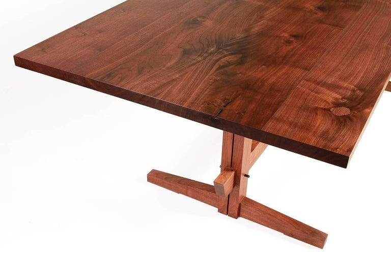 Mid-Century Modern Black Walnut Mid-Century Style Low Trestle Dining Table, In Stock For Sale