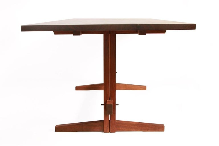 American Black Walnut Mid-Century Style Low Trestle Dining Table, In Stock For Sale