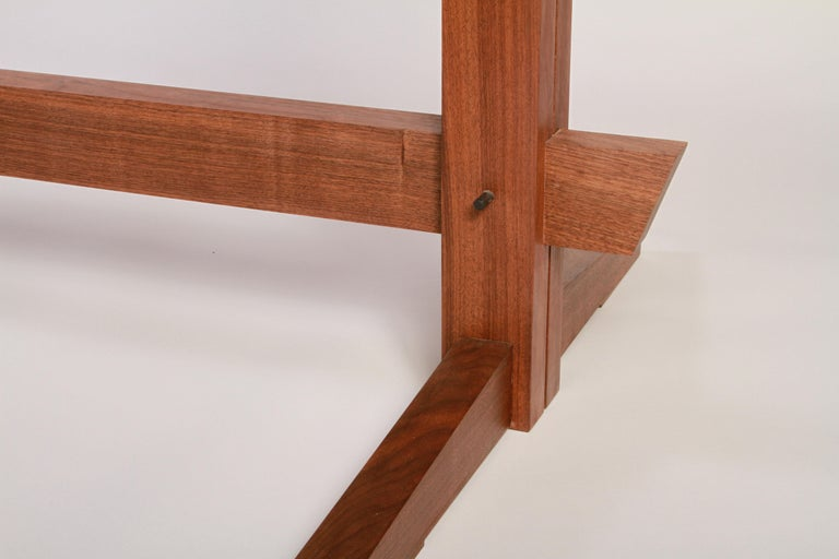 Hand-Crafted Black Walnut Mid-Century Style Low Trestle Dining Table, In Stock For Sale