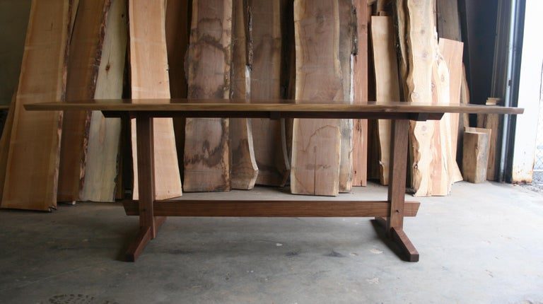 Black Walnut Mid-Century Style Low Trestle Dining Table, In Stock In New Condition For Sale In Kingston, NY