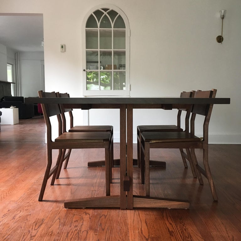 Contemporary Black Walnut Mid-Century Style Low Trestle Dining Table, In Stock For Sale