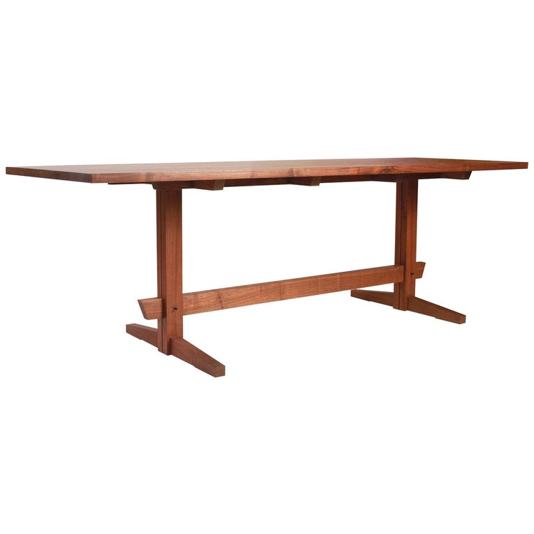 Black Walnut Mid-Century Style Low Trestle Dining Table, In Stock For Sale