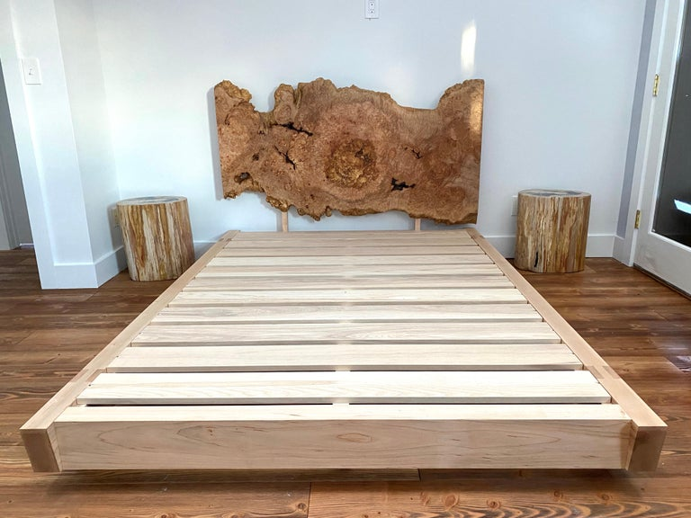 Contemporary Black Walnut Perri Bed Queen-sized with Sustainable Live-edge Slab Headboard For Sale