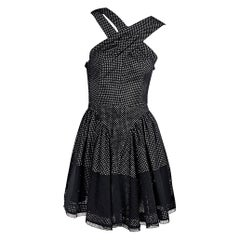 Black & White Alaia Eyelet Cotton Fit-and-Flare Dress