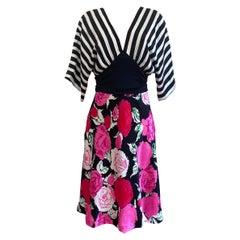 Black white and roses Flora Kung mix-media kimono SADE silk dress NWT