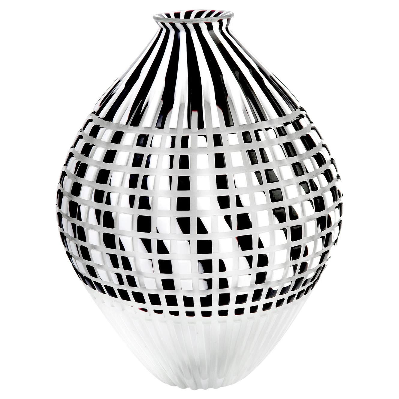 Murano Glass Object. Black and White Anfora with White Bottom, Textile Inspired