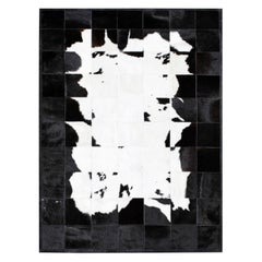 Black&White Bold Graphic customizable Buenos Aires Cowhide Area Floor Rug Large