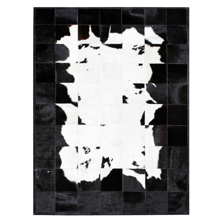 Black&White Bold Graphic customizable Buenos Aires Cowhide Area Floor Rug Large For Sale