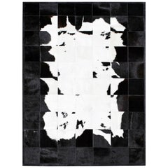 Black &White Bold Graphic customizable Buenos Aires Cowhide Area Floor Rug Small