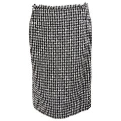 Black & White Chanel Boucle Pencil Skirt
