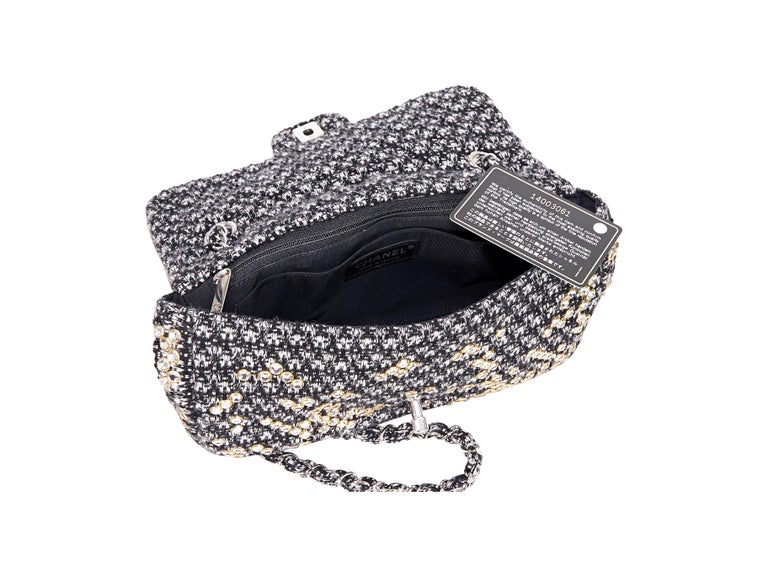 Women's Black & White Chanel Tweed Classic Flap Bag with Swarovski Crystals For Sale
