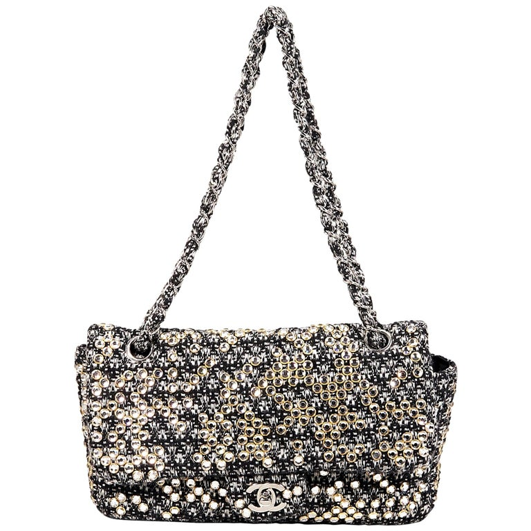 Black & White Chanel Tweed Classic Flap Bag with Swarovski Crystals For Sale