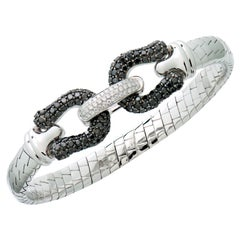 Black & White Diamond Bangle in 18 Karat White Gold