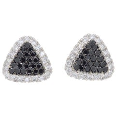 Black and White Diamond Cluster Earrings