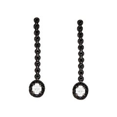 Round Black & Oval White Diamond Drop Earrings 14K Gold