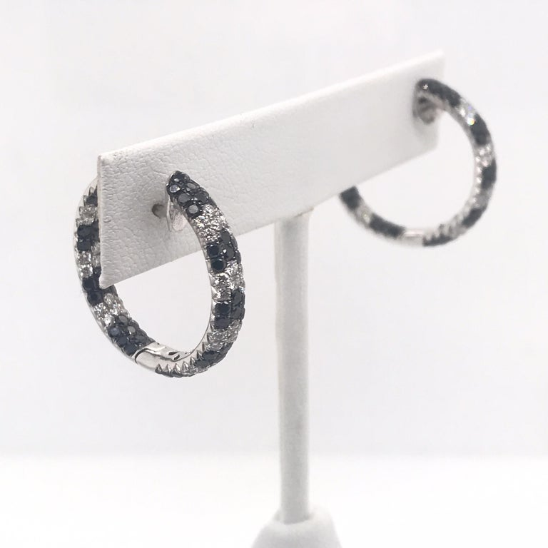 Black and White Diamond Hoop Earrings 4.30 Carat 18 Karat White Gold In New Condition For Sale In New York, NY