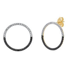 Black and White Diamond Loop Earrings, Gold, Ben Dannie