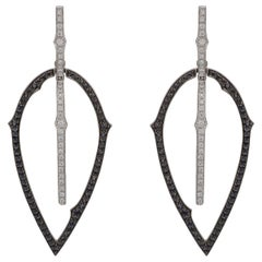 Black and White Diamond 'Thorn' Drop Earrings