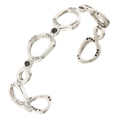 Black White Diamonds White Gold Bracelet Handcrafted in Italy by Botta Gioielli