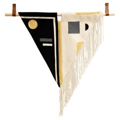 Black + White Fringe Hand Embroidered Geometric Modern Tapestry Wall Hanging