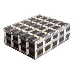 Black, White, Grey Checkerboard Bone Lidded Box, Indonesia, Contemporary