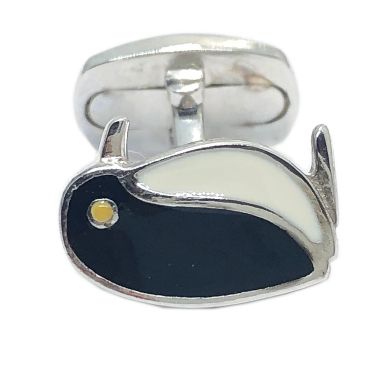 Unique, Chic Black and White Hand Enamelled Little Penguin Shaped T-Bar Back, Sterling Silver Cufflinks. In our smart black box. We offer complimentary 24 hours Express Shipping to several destinations.