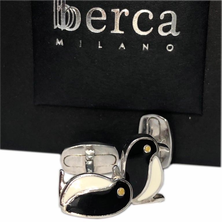 Contemporary Black White Hand Enameled Penguin Shaped Sterling Silver Cufflinks For Sale
