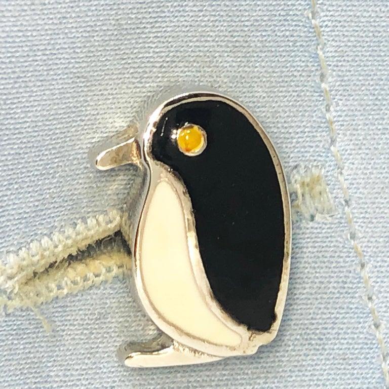 Men's Black White Hand Enameled Penguin Shaped Sterling Silver Cufflinks For Sale