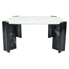 Black and White Marble Coffee Table in Style of Gae Aulenti, Italy, 1970s