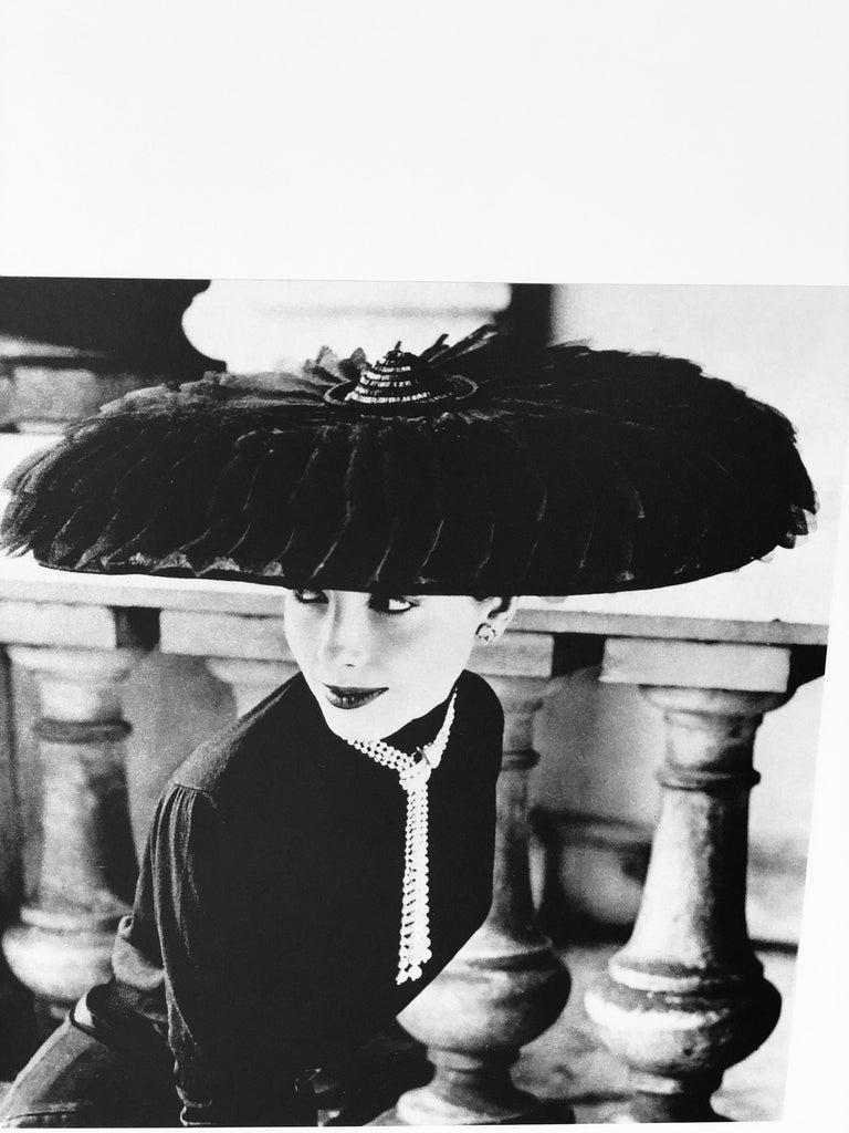 "Mid-Century Modern Black & White Photo Norman Parkinson ""Legroux Soeurs Hat"" 1952 Sheet-Fed Gravure For Sale"