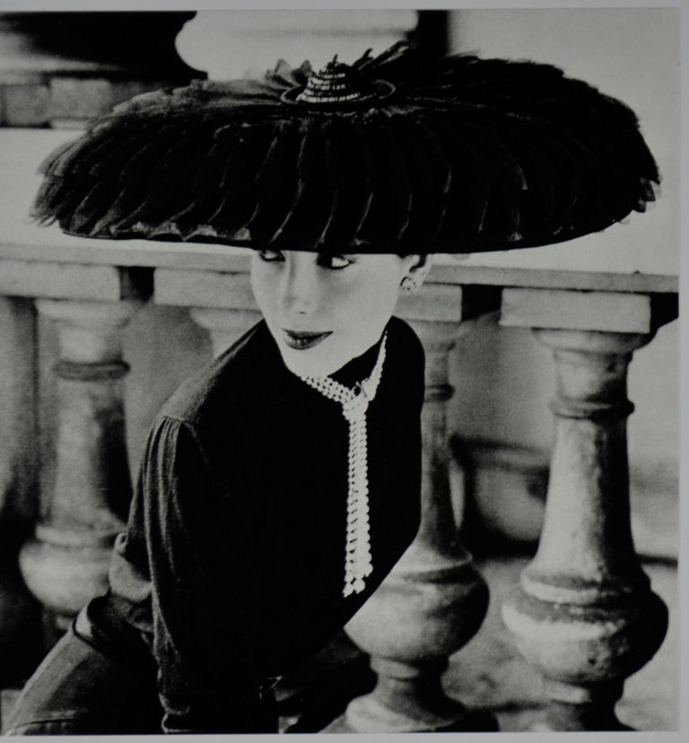 "French Black & White Photo Norman Parkinson ""Legroux Soeurs Hat"" 1952 Sheet-Fed Gravure For Sale"