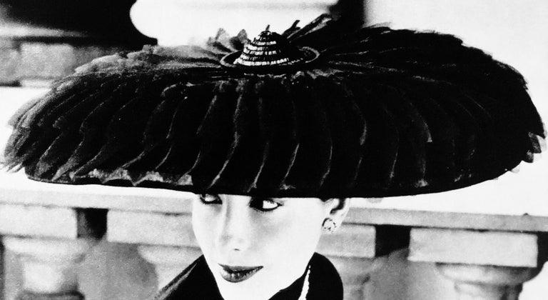 """Paper Black & White Photo Norman Parkinson """"Legroux Soeurs Hat"""" 1952 Sheet-Fed Gravure For Sale"""