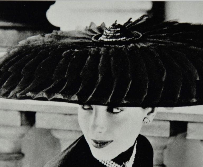 """Black & White Photo Norman Parkinson """"Legroux Soeurs Hat"""" 1952 Sheet-Fed Gravure For Sale 1"""