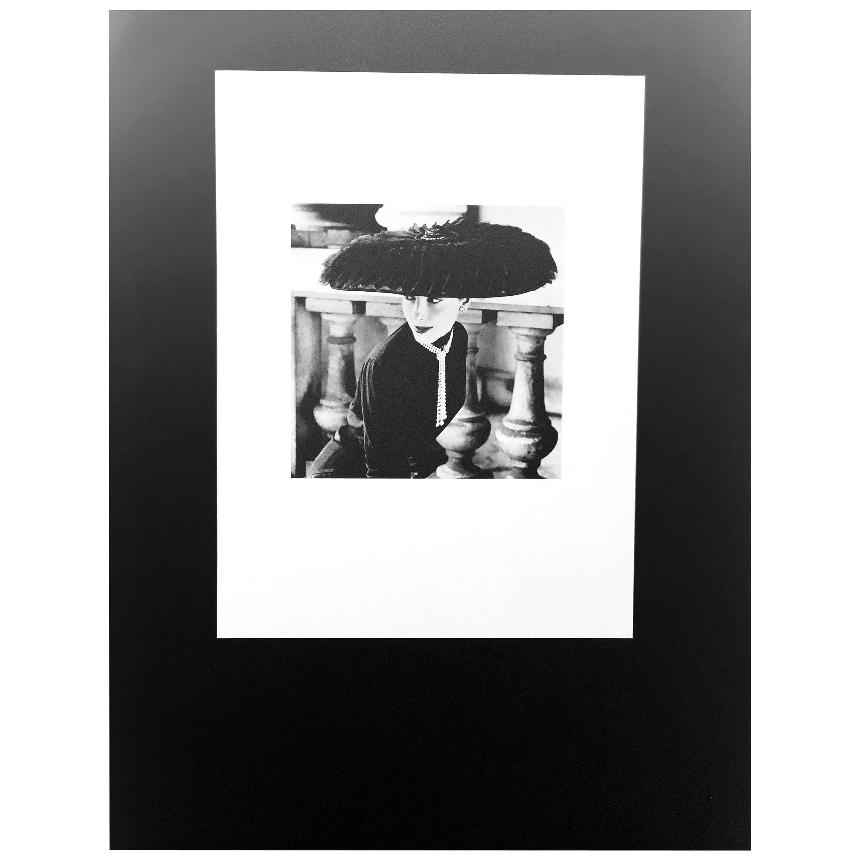 """Black & White Photo Norman Parkinson """"Legroux Soeurs Hat"""" 1952 Sheet-Fed Gravure"""