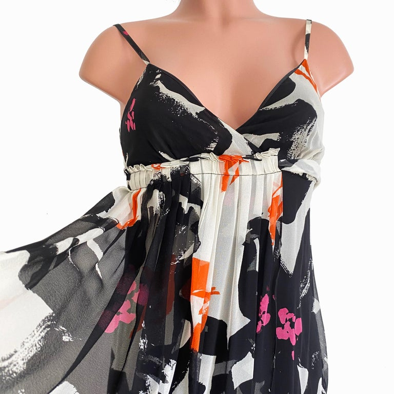 Black White Printed Silk Georgette Carefree Babydoll Dress For Sale 1