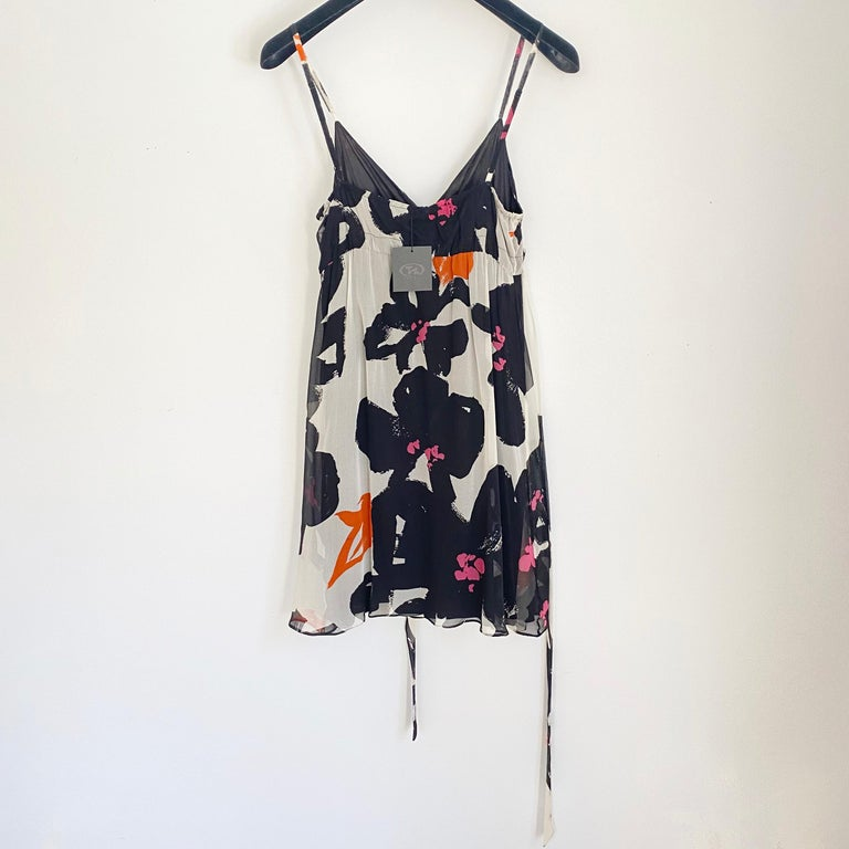 Black White Printed Silk Georgette Carefree Babydoll Dress For Sale 2